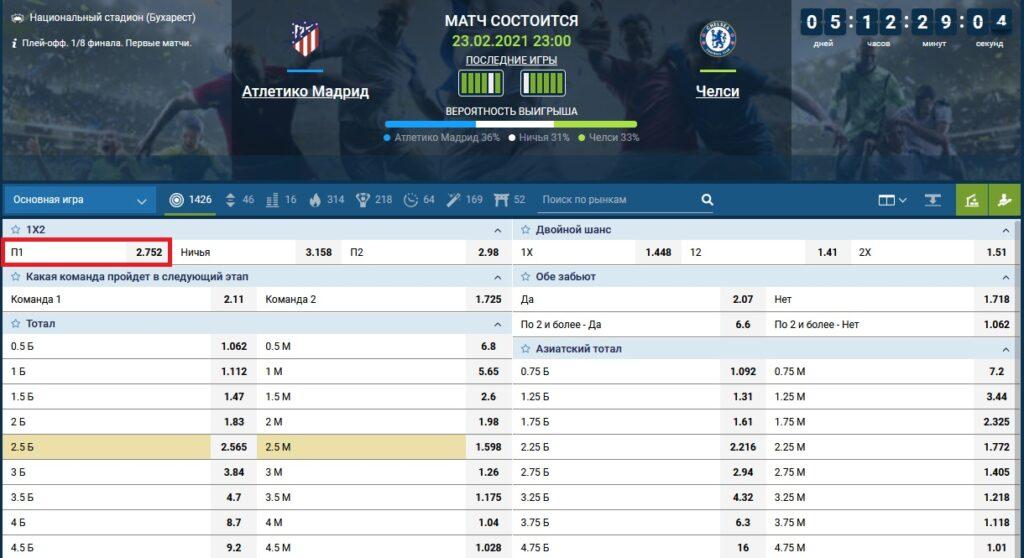 Ставка на матч Атлетико Мадрид - Челси
