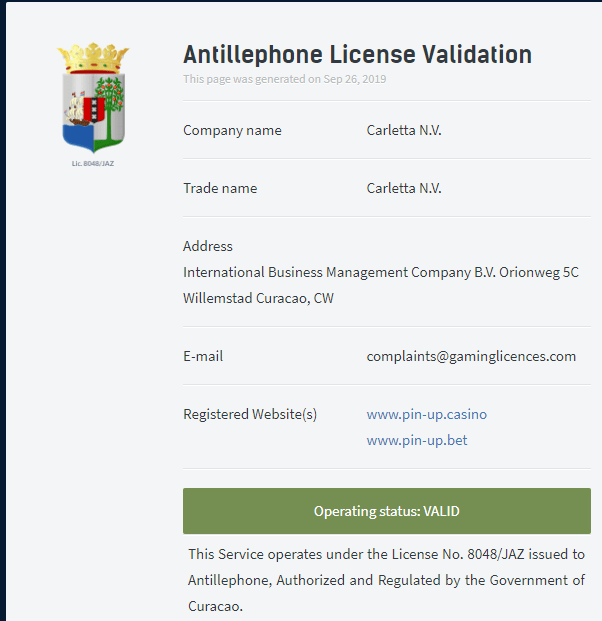 Официальная лицензия на деятельность под номером 8048/JAZ от eGaming Curacao.